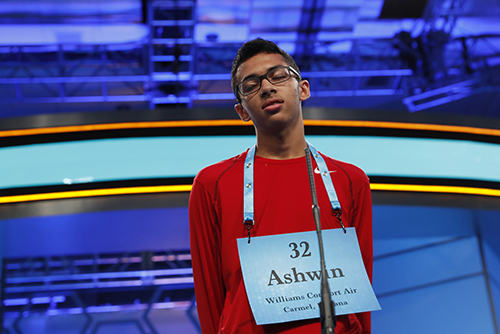 "<div class=""meta image-caption""><div class=""origin-logo origin-image ap""><span>AP</span></div><span class=""caption-text"">Ashwin Prasad, 14, from Carmel, Ind., correctly spells his word in the third round of the 90th Scripps National Spelling Bee, Wednesday, May 31, 2017, in Oxon Hill, Md. (AP Photo/Alex Brandon)</span></div>"
