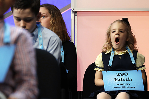 "<div class=""meta image-caption""><div class=""origin-logo origin-image ap""><span>AP</span></div><span class=""caption-text"">Edith Fuller, 6, of Tulsa, Okla., the youngest speller in history to compete in the bee, yawns as she waits to compete in the 90th Scripps National Spelling Bee. (AP Photo/Jacquelyn Martin)</span></div>"