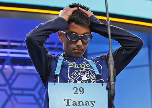 "<div class=""meta image-caption""><div class=""origin-logo origin-image ap""><span>AP</span></div><span class=""caption-text"">Tanay Nandan, 10, from Short Hills, N.J., thinks about his word in the third round of the 90th Scripps National Spelling Bee, Wednesday, May 31, 2017, in Oxon Hill, Md. (AP Photo/Alex Brandon)</span></div>"