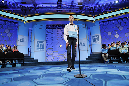"<div class=""meta image-caption""><div class=""origin-logo origin-image ap""><span>AP</span></div><span class=""caption-text"">Noah Brandt, 14, from Jackson, Tenn., approaches the microphone in the third round of the 90th Scripps National Spelling Bee, Wednesday, May 31, 2017, in Oxon Hill, Md. (AP Photo/Alex Brandon)</span></div>"