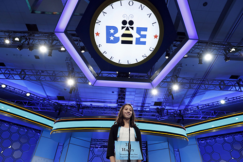 "<div class=""meta image-caption""><div class=""origin-logo origin-image ap""><span>AP</span></div><span class=""caption-text"">Haley Jeffers, 14, from Camarillo, Calif., correctly spells her word in the third round of the 90th Scripps National Spelling Bee, Wednesday, May 31, 2017, in Oxon Hill, Md. (AP Photo/Alex Brandon)</span></div>"