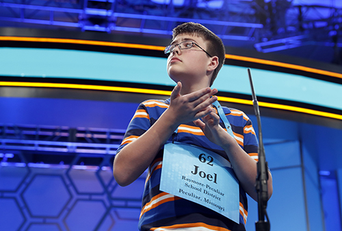 "<div class=""meta image-caption""><div class=""origin-logo origin-image ap""><span>AP</span></div><span class=""caption-text"">Joel Miles, 14, from Greenwood, Mo., spells his word correctly in the third round of the 90th Scripps National Spelling Bee, Wednesday, May 31, 2017, in Oxon Hill, Md. (AP Photo/Alex Brandon)</span></div>"