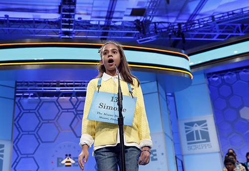 "<div class=""meta image-caption""><div class=""origin-logo origin-image ap""><span>AP</span></div><span class=""caption-text"">Simone Kaplan, 11, from Davie, Fla., reacts after incorrectly spelling her word in the third round of the 90th Scripps National Spelling Bee, Wednesday, May 31, 2017. (AP Photo/Alex Brandon)</span></div>"