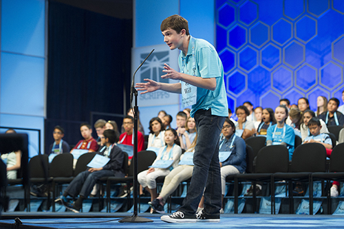 "<div class=""meta image-caption""><div class=""origin-logo origin-image ap""><span>AP</span></div><span class=""caption-text"">Will Lourcey, 14, from Fort Worth, Texas, correctly spells his word during the 90th Scripps National Spelling Bee in Oxon Hill, Md., Wednesday, May 31, 2017. (AP Photo/Cliff Owen)</span></div>"