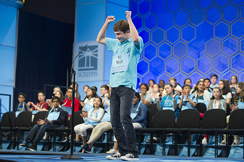 "<div class=""meta image-caption""><div class=""origin-logo origin-image ap""><span>AP</span></div><span class=""caption-text"">Will Lourcey, 14, from Fort Worth, Texas, reacts to correctly spelling his word during the 90th Scripps National Spelling Bee in Oxon Hill, Md., Wednesday, May 31, 2017. (AP Photo/Cliff Owen)</span></div>"