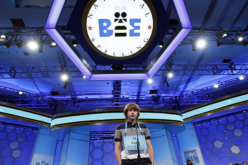 "<div class=""meta image-caption""><div class=""origin-logo origin-image ap""><span>AP</span></div><span class=""caption-text"">Sam Stephens, 14, from Stevensville, Mich., correctly spells his word in the third round of the 90th Scripps National Spelling Bee, Wednesday, May 31, 2017, in Oxon Hill, Md. (AP Photo/Alex Brandon)</span></div>"
