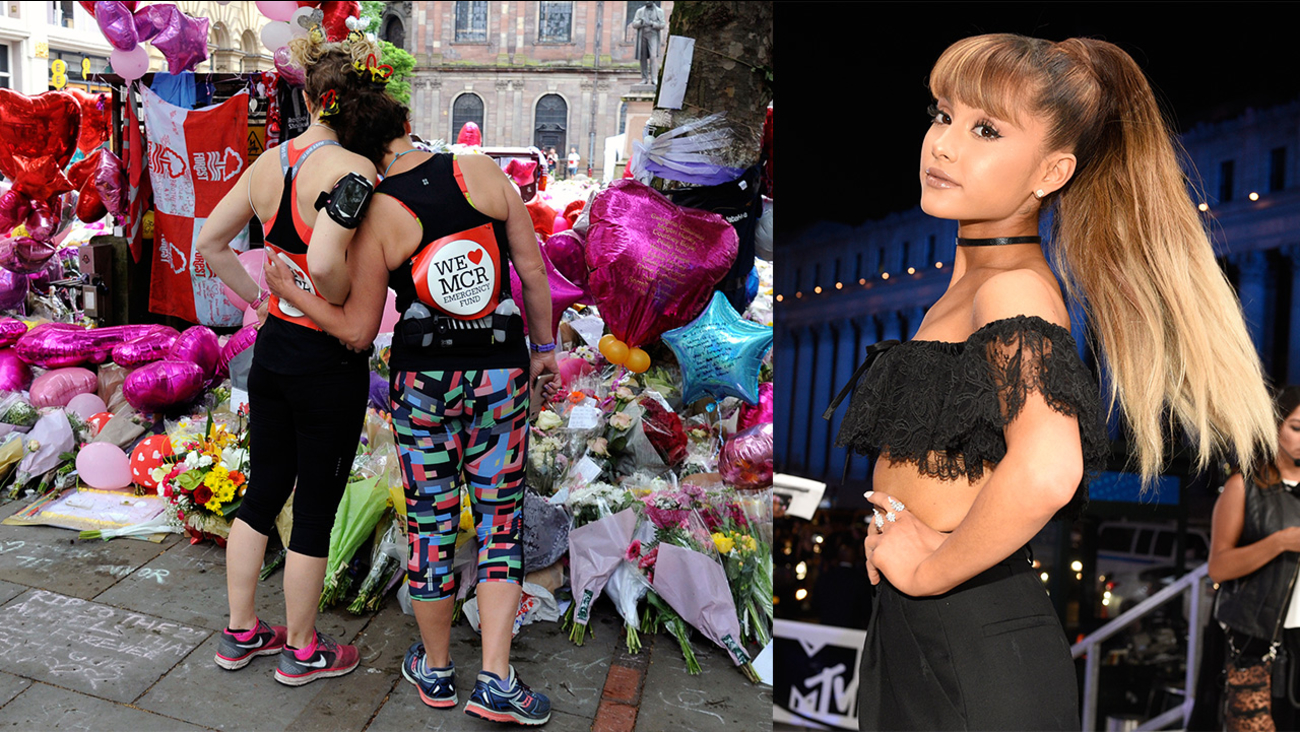 Image of Manchester tribute and Ariana Grande.