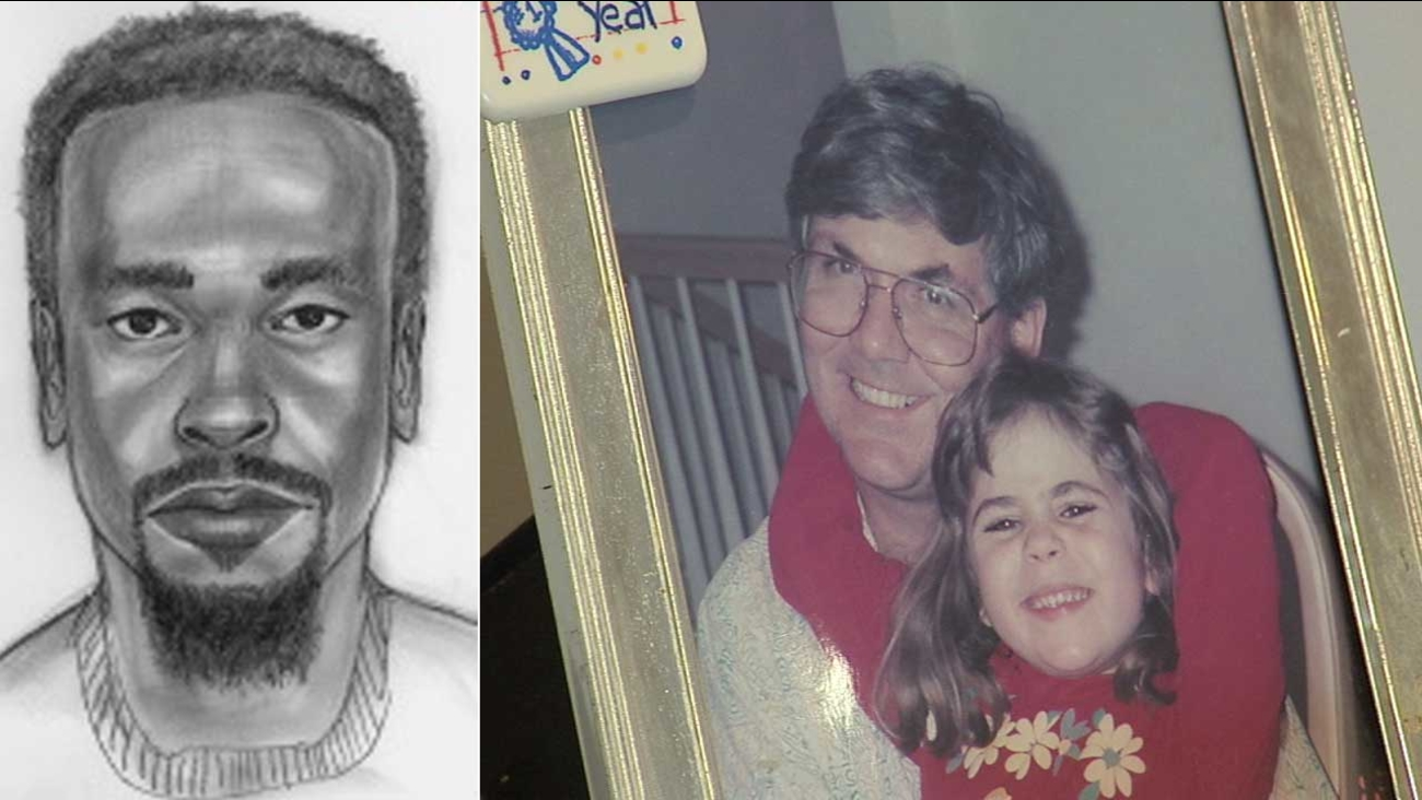 The L.A. County Sheriff's Department released a sketch, left, of a person of interest in the 2009 murder of Jeffrey Tidus, right.