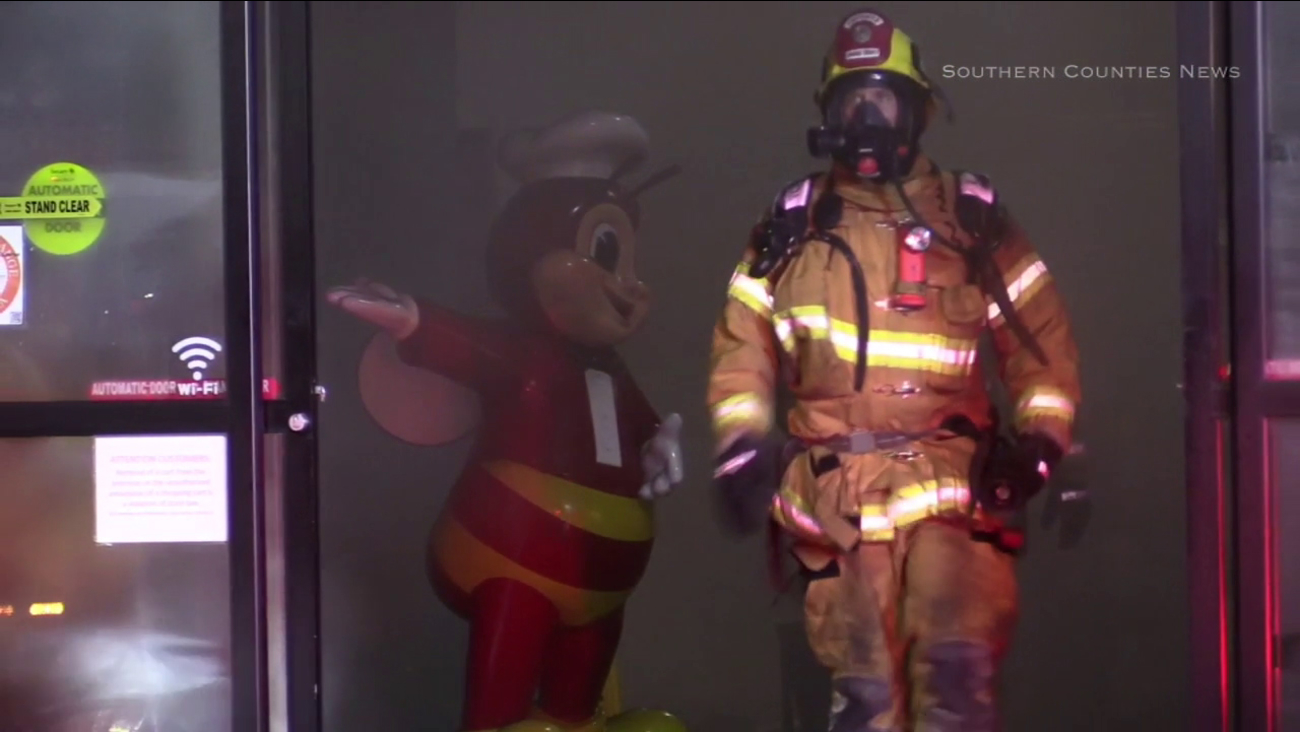 Firefighters responded to a fire at a seafood market in Irvine on Friday, June 2, 2017.