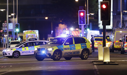 "<div class=""meta image-caption""><div class=""origin-logo origin-image ap""><span>AP</span></div><span class=""caption-text"">Police cars in the area of London Bridge after an incident in central London, late Saturday, June 3, 2017. (AP Photo/ Matt Dunham)</span></div>"
