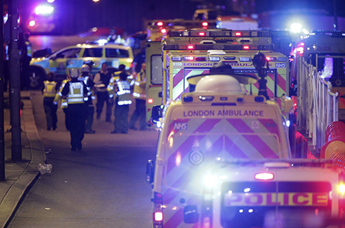 "<div class=""meta image-caption""><div class=""origin-logo origin-image ap""><span>AP</span></div><span class=""caption-text"">Emergency personnel on London Bridge after an incident in central London, Saturday, June 3, 2017. (Dominic Lipinski/PA via AP)</span></div>"