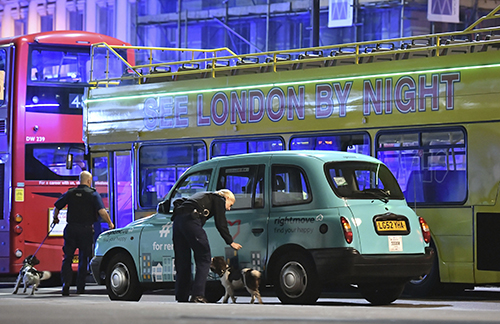 <div class='meta'><div class='origin-logo' data-origin='AP'></div><span class='caption-text' data-credit='Dominic Lipinski/PA via AP'>Police sniffer dogs on London Bridge after an incident in central London, Saturday, June 3, 2017.</span></div>