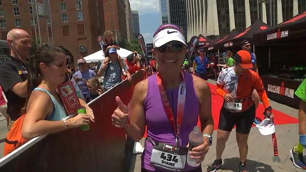 "<div class=""meta image-caption""><div class=""origin-logo origin-image wtvd""><span>WTVD</span></div><span class=""caption-text"">Diane Wilson crossing the Raleigh Half Ironman finish line.</span></div>"