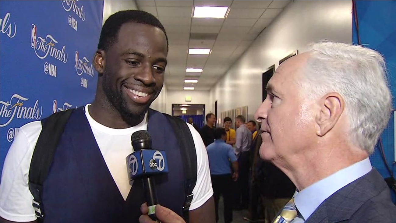 """Warriors star Draymond Green speaks to ABC7 Sports Anchor Mike Shumann on """"After the Game"""" on Sunday, June 4, 2017 in Oakland, Calif."""