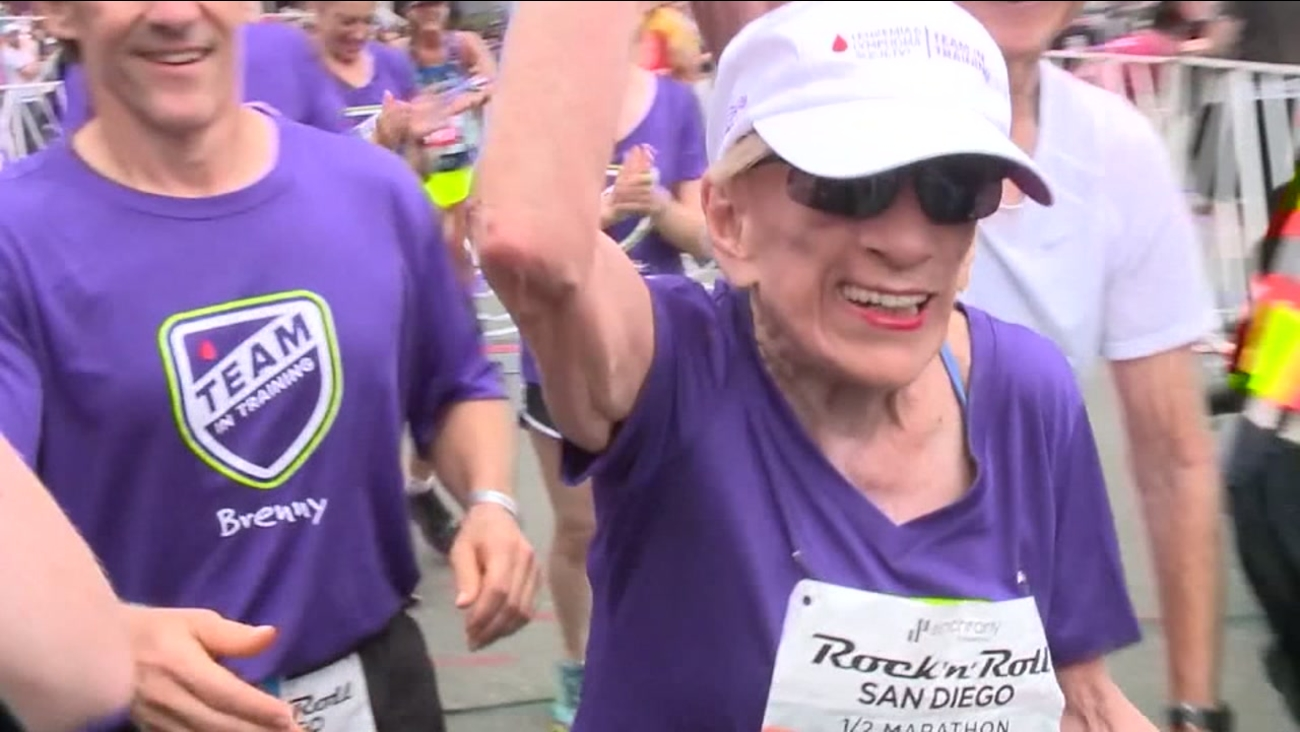 94-year-old cancer survivor sets half-marathon record