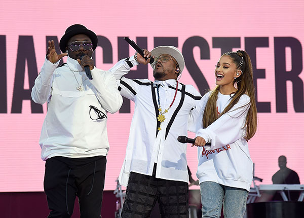 "<div class=""meta image-caption""><div class=""origin-logo origin-image none""><span>none</span></div><span class=""caption-text"">Ariana Grande performs on stage with apl.de.ap (C) and will.i.am (L) of The Black Eyed Peas during the One Love Manchester Benefit Concert at Old Trafford on June 4, 2017. (Kevin Mazur/One Love Manchester/Getty Images for One Love Manchester)</span></div>"
