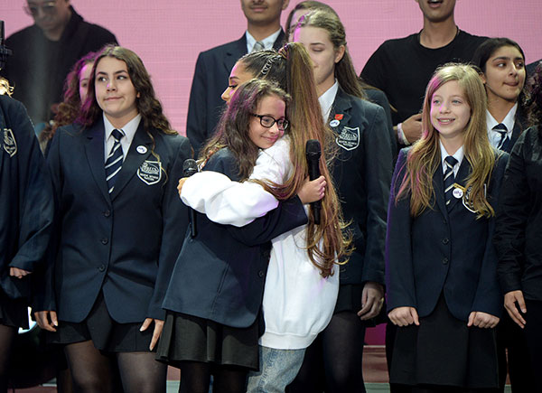 """<div class=""""meta image-caption""""><div class=""""origin-logo origin-image none""""><span>none</span></div><span class=""""caption-text"""">Ariana Grande performs on stage with The Children's Choir during the One Love Manchester Benefit Concert at Old Trafford Cricket Ground on June 4, 2017 in Manchester, England. (Kevin Mazur/One Love Manchester/Getty Images for One Love Manchester)</span></div>"""