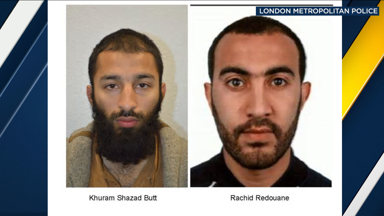 London police said 27-year-old Khuram Shazad Butt was a British citizen born in Pakistan and Rachid Redouane had claimed both Libyan and Moroccan nationality.