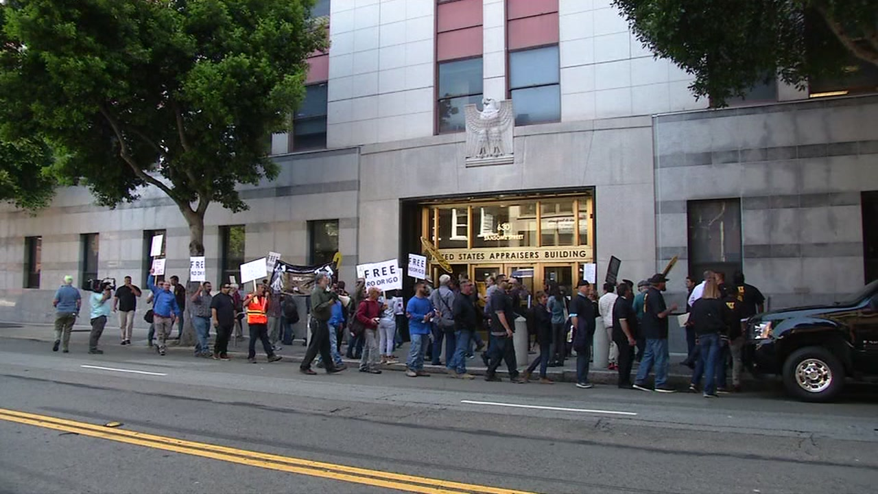 Protesters demonstrate in front of  San Francisco's immigration building on Monday, June 5, 2017.