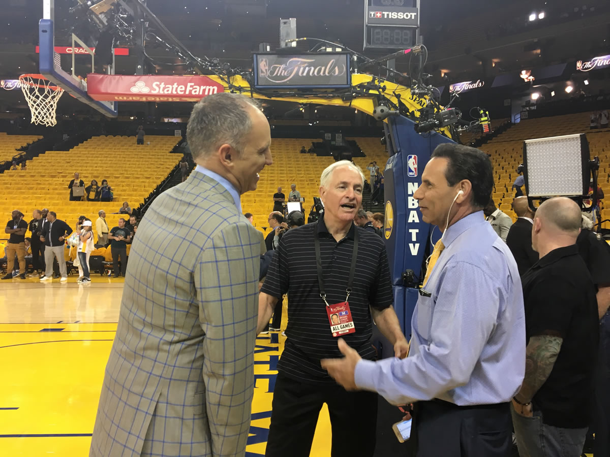 "<div class=""meta image-caption""><div class=""origin-logo origin-image none""><span>none</span></div><span class=""caption-text"">Kerry Keating, Mike Shumann, and Larry Beil talk Warriors at the NBA Finals in Oakland, Calif. on June 4, 2017. (KGO-TV)</span></div>"