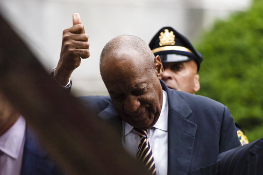 <div class='meta'><div class='origin-logo' data-origin='none'></div><span class='caption-text' data-credit='AP'>Bill Cosby gestures as he walks from the Montgomery County Courthouse during his sexual assault trial in Norristown, Pa., Monday, June 5, 2017. (AP Photo/Matt Rourke)</span></div>