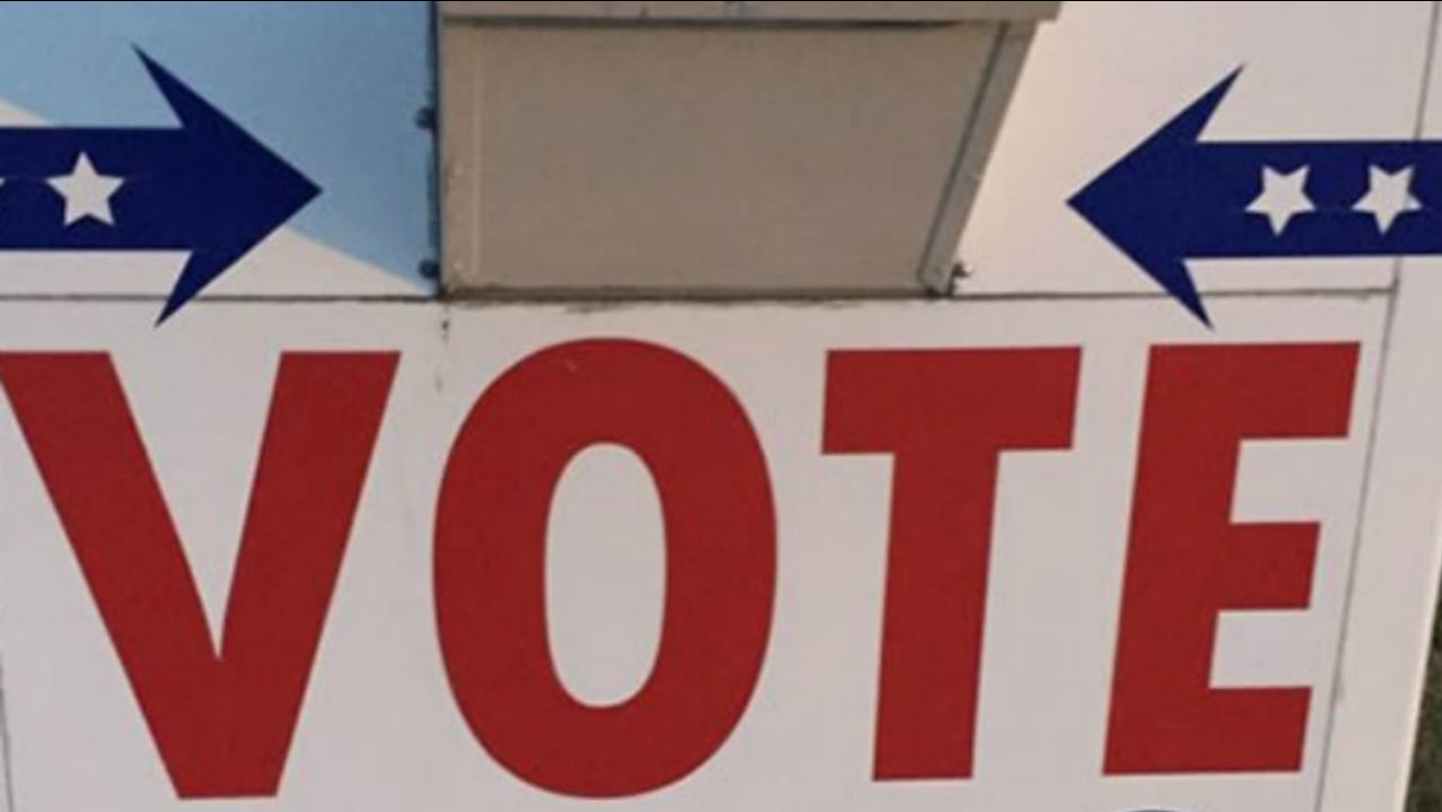A voting sign is seen in this undated image.