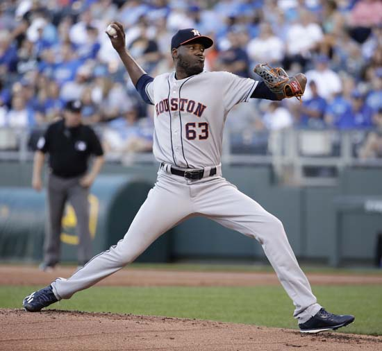"""<div class=""""meta image-caption""""><div class=""""origin-logo origin-image ap""""><span>AP</span></div><span class=""""caption-text"""">Houston Astros starting pitcher David Paulino throws during the first inning of a baseball game against the Kansas City Royals Tuesday, June 6, 2017, in Kansas City, Mo. (Charlie Riedel)</span></div>"""