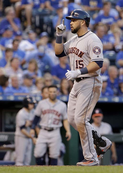 """<div class=""""meta image-caption""""><div class=""""origin-logo origin-image ap""""><span>AP</span></div><span class=""""caption-text"""">Houston Astros' Carlos Beltran celebrates as he crosses the plate after hitting a two-run home run during the fourth inning of a baseball game against the Kansas City Royals. (Charlie Riedel)</span></div>"""