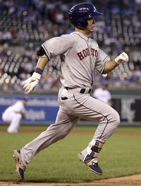 """<div class=""""meta image-caption""""><div class=""""origin-logo origin-image ap""""><span>AP</span></div><span class=""""caption-text"""">Houston Astros' Norichika Aoki runs to first after hitting a single during the fifth inning of a baseball game against the Kansas City Royals. (Charlie Riedel)</span></div>"""