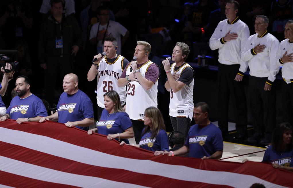 <div class='meta'><div class='origin-logo' data-origin='none'></div><span class='caption-text' data-credit='AP Photo/Tony Dejak'>Rascal Flatts performs the national anthem before Game 3 of the NBA Finals between the Cleveland Cavaliers and the Golden State Warriors in Cleveland, Wednesday, June 7, 2017.</span></div>
