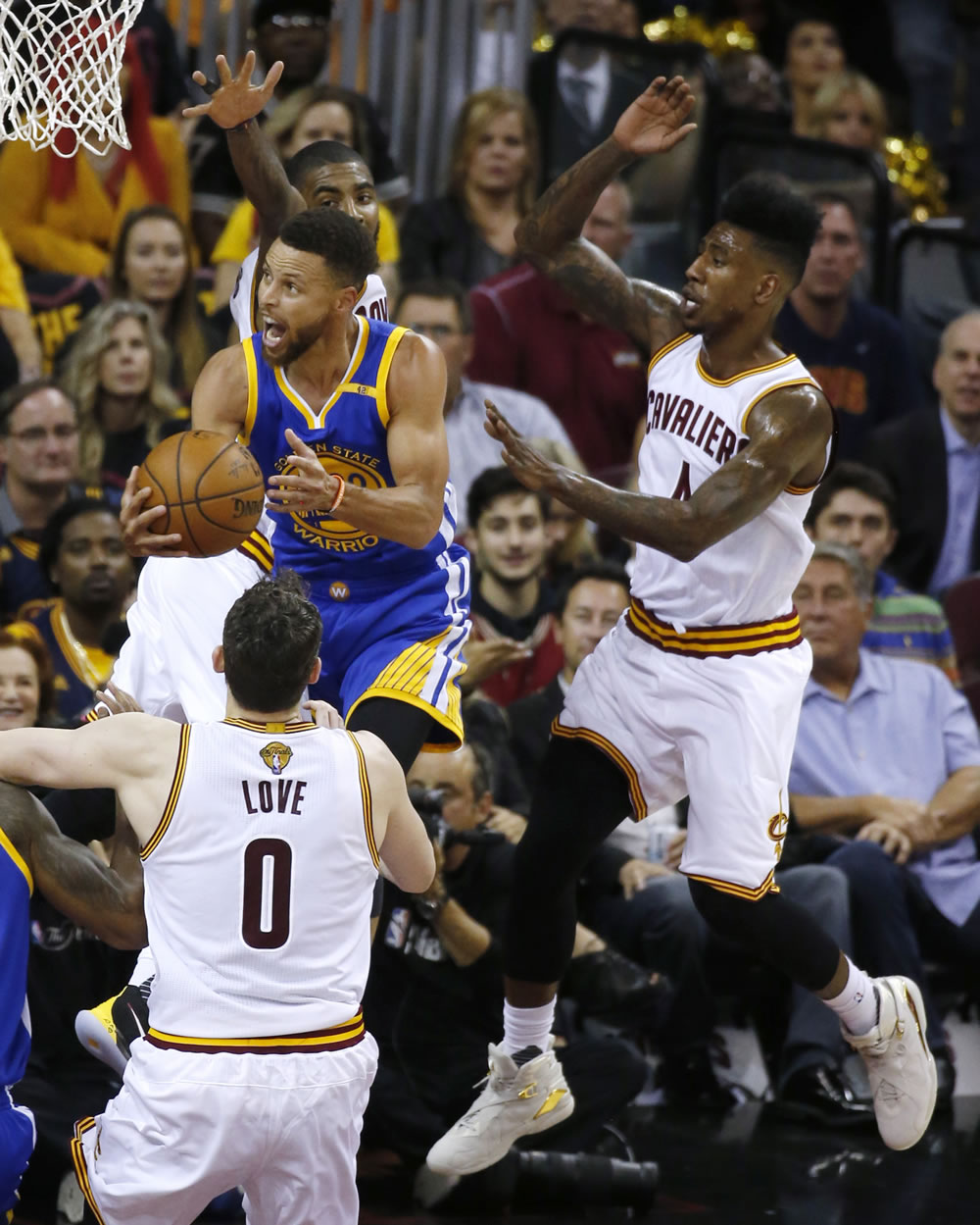 """<div class=""""meta image-caption""""><div class=""""origin-logo origin-image none""""><span>none</span></div><span class=""""caption-text"""">Steph Curry flies above Kevin Love during game three of the NBA Finals on Monday, June 6, 2017. (KGO-TV)</span></div>"""