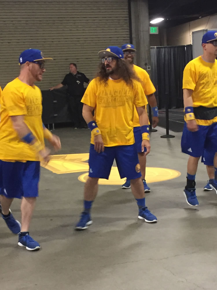 <div class='meta'><div class='origin-logo' data-origin='none'></div><span class='caption-text' data-credit='KGO-TV'>The Golden State Warriors Hoop Troop gets ready for game two of the NBA Finals in Oakland, Calif. on Sunday, June 4, 2017.</span></div>