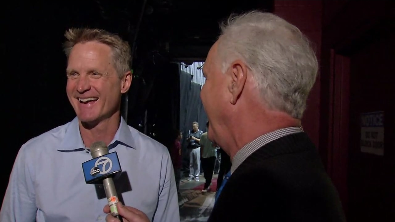 Warriors Coach Steve Kerr talks to ABC7's Mike Shumann after Game 3 of the NBA Finals in Cleveland on Wednesday, June 7, 2017.
