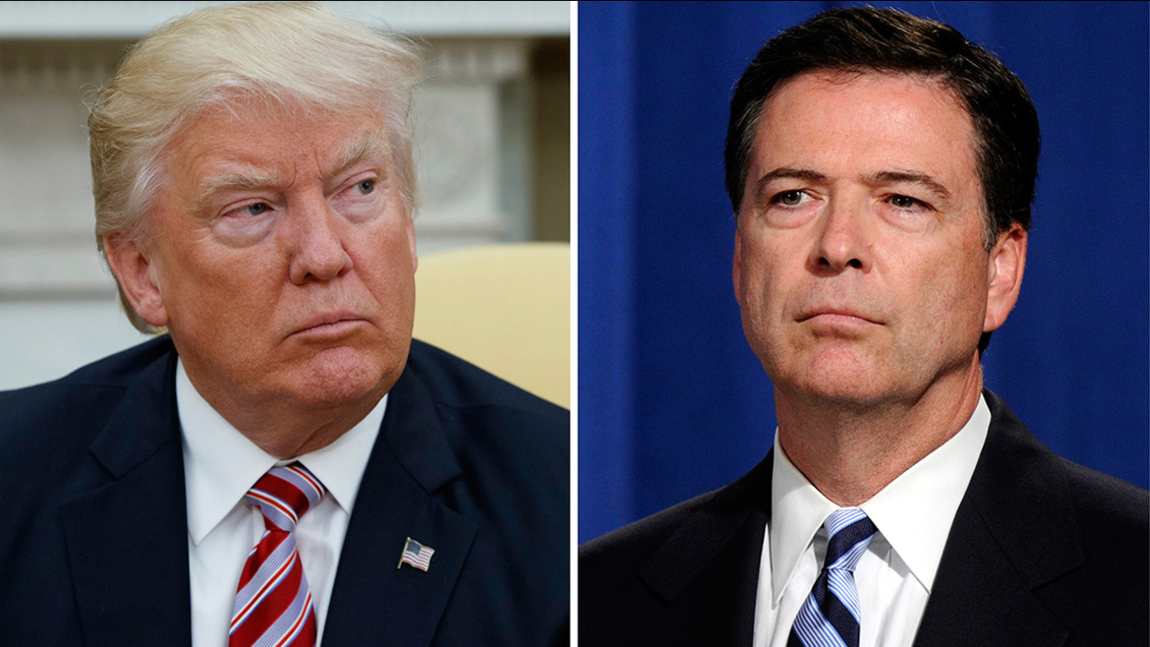 President Trump, left, appears in the Oval Office of the White House on May 10, 2017, and FBI Director James Comey appears at a news conference in Washington on June 30, 2014.