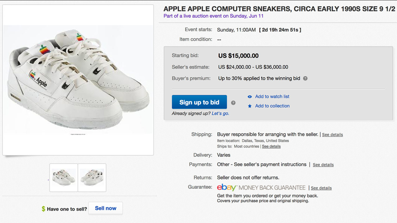 Image of an eBay listing of Apple sneakers.
