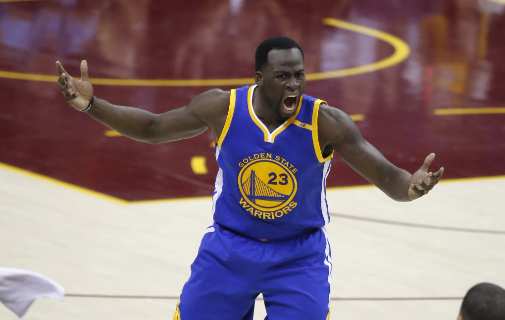 "<div class=""meta image-caption""><div class=""origin-logo origin-image none""><span>none</span></div><span class=""caption-text"">Warriors forward Draymond Green (23) reacts to a foul against the Cleveland Cavaliers in the first half of Game 4 of the NBA Finals in Cleveland, Friday, June 9, 2017. (AP Photo/Ron Schwane)</span></div>"