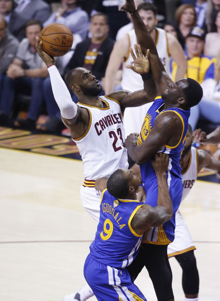 "<div class=""meta image-caption""><div class=""origin-logo origin-image none""><span>none</span></div><span class=""caption-text"">Cavaliers forward LeBron James (23) drives on Warriors forward Draymond Green (23) during the first half of Game 4 of basketball's NBA Finals in Cleveland on June 9, 2017. (AP Photo/Ron Schwane)</span></div>"