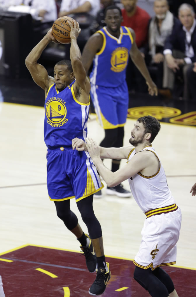 "<div class=""meta image-caption""><div class=""origin-logo origin-image none""><span>none</span></div><span class=""caption-text"">Warriors forward Andre Iguodala (9) passes as Cavaliers forward Kevin Love (0) defends during the first half of Game 4 of basketball's NBA Finals in Cleveland on June 9, 2017. (AP Photo/Tony Dejak)</span></div>"