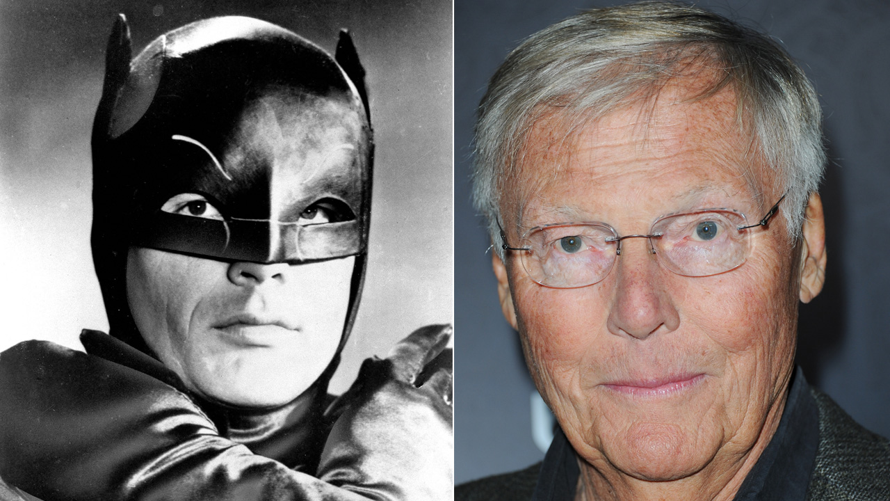 "Actor Adam West, shown in costume on January 23, 1966, stars as the Caped Crusader on the new ""Batman"" television series.In a Nov. 17, 2012 file photo, he arrives at Variety Power."