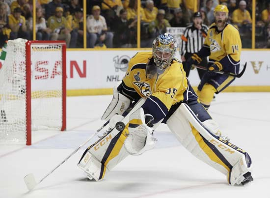 "<div class=""meta image-caption""><div class=""origin-logo origin-image ap""><span>AP</span></div><span class=""caption-text"">Nashville Predators goalie Pekka Rinne (35), of Finland, blocks a shot during the second period of Game 6. (AP Photo/Mark Humphrey) (AP)</span></div>"