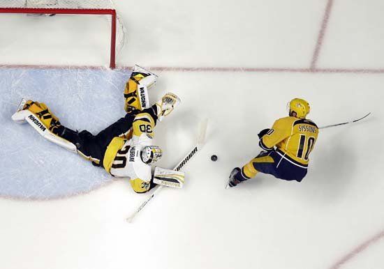 "<div class=""meta image-caption""><div class=""origin-logo origin-image ap""><span>AP</span></div><span class=""caption-text"">Pittsburgh Penguins goalie Matt Murray (30) blocks a shot by Nashville Predators' Colton Sissons (10) during the second period of Game 6. (AP Photo/Mark Humphrey) (AP)</span></div>"