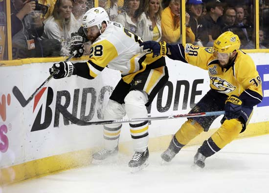 "<div class=""meta image-caption""><div class=""origin-logo origin-image ap""><span>AP</span></div><span class=""caption-text"">Nashville Predators' Viktor Arvidsson (38), of Sweden, checks Pittsburgh Penguins' Ian Cole (28) into the boards during the third period of Game 6. (AP Photo/Mark Humphrey) (AP)</span></div>"
