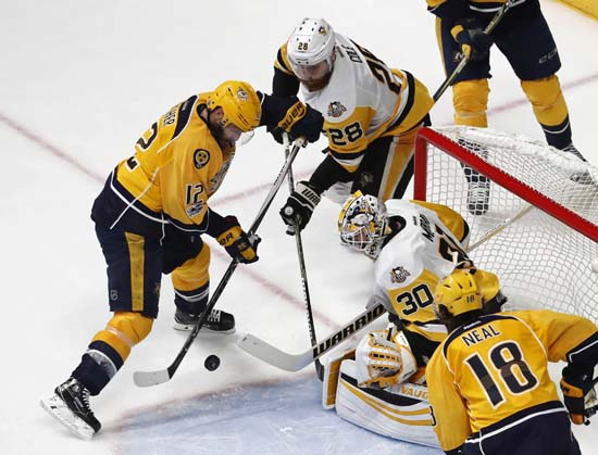 "<div class=""meta image-caption""><div class=""origin-logo origin-image ap""><span>AP</span></div><span class=""caption-text"">Pittsburgh Penguins' Matt Murray (30) and Ian Cole (28) block a shot by Nashville Predators' Mike Fisher during the third period of Game 6. (AP Photo/Jeff Roberson) (AP)</span></div>"
