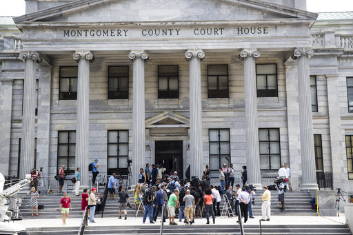 <div class='meta'><div class='origin-logo' data-origin='none'></div><span class='caption-text' data-credit='AP'>Members of the media gather on the steps of the Montgomery County Courthouse during Bill Cosby's sexual assault trial in Norristown, Pa., June 12, 2017. (AP Photo/Matt Rourke)</span></div>