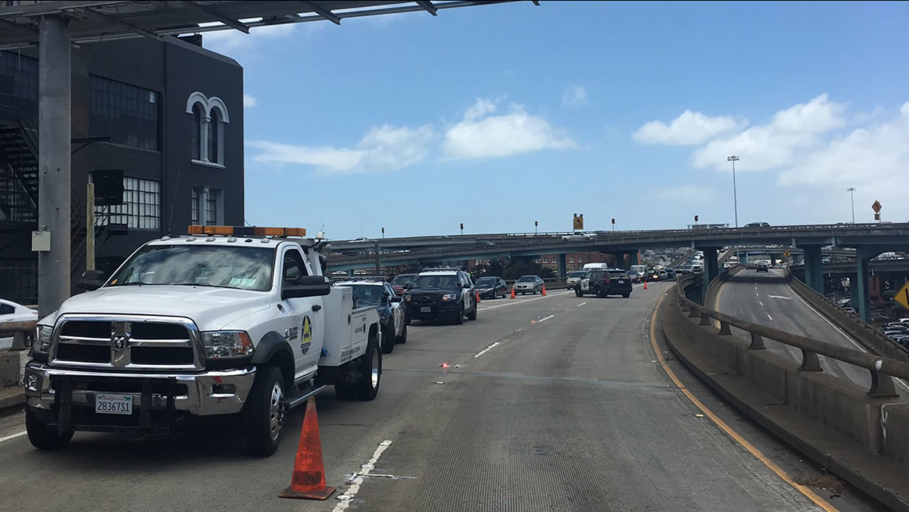 Northbound Highway 101 was closed at 9th Street in San Francisco on Monday, June 12, 2017 due to a fatal collision.