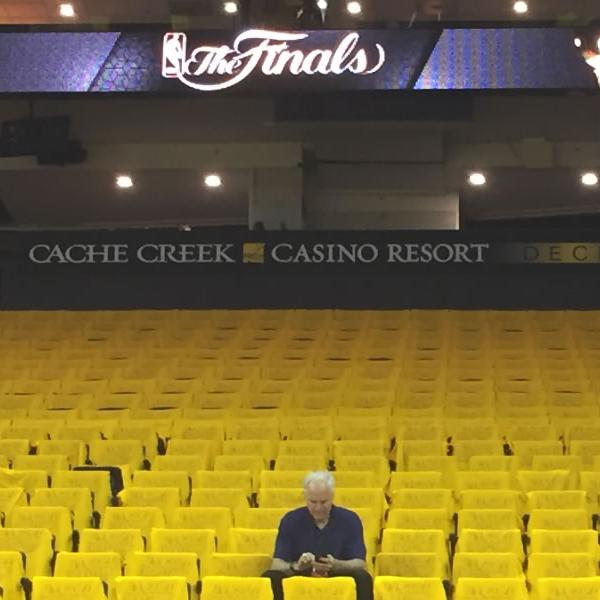<div class='meta'><div class='origin-logo' data-origin='none'></div><span class='caption-text' data-credit='KGO-TV'>ABC7 News' Mike Shumann is seen inside Oracle Arena in Oakland, Calif. ahead of Game 5 of the NBA Finals on Monday, June 12, 2017.</span></div>