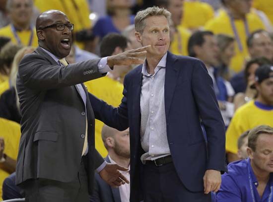 "<div class=""meta image-caption""><div class=""origin-logo origin-image ap""><span>AP</span></div><span class=""caption-text"">Golden State Warriors head coach Steve Kerr, right, talks with assistant Mike Brown during the first half. (AP Photo/Marcio Jose Sanchez) (AP)</span></div>"