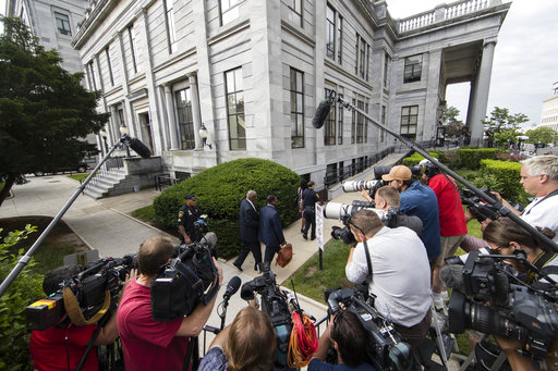 <div class='meta'><div class='origin-logo' data-origin='AP'></div><span class='caption-text' data-credit='(AP Photo/Matt Rourke)'>Bill Cosby arrives for jury deliberations in his sexual assault trial at the Montgomery County Courthouse in Norristown, Pa., Thursday, June 15, 2017.</span></div>