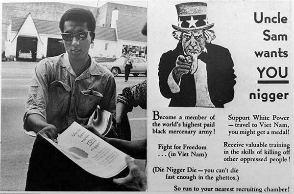 <div class='meta'><div class='origin-logo' data-origin='AP'></div><span class='caption-text' data-credit=''>Stokely Carmichael is shown handing out the leaflet outside the Atlanta, Ga. induction center in 1967. The right photo is a copy of the leaflet.</span></div>