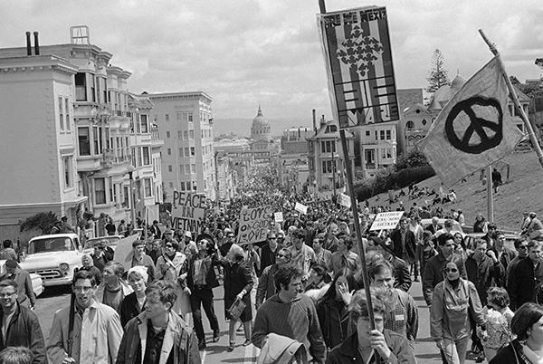 <div class='meta'><div class='origin-logo' data-origin='AP'></div><span class='caption-text' data-credit=''>Peace demonstrators fill Fulton Street in San Francisco April 15, 1967 during their five-mile march through the city.</span></div>